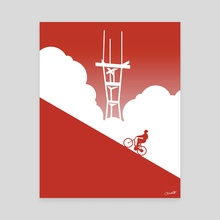 Biking in San Francisco: Sutro Tower - Canvas by Chris Cerrato