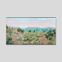 Tuscan Landscape - Acrylic by Ed  Pulella