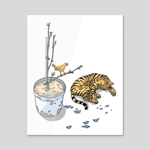 Sleeping cat and singing bird - Animal Lover - Nature - Tranquility - Acrylic by Calos Marques