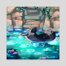 Floating otter - Canvas by Andrea Vizoso
