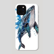 Blue Humpback Whale - Phone Case by Sebastian Grafmann