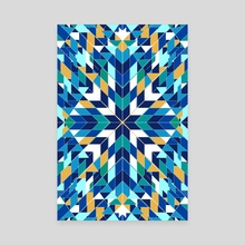 Triangles blue abstract tribal pattern - Canvas by Mihalis Athanasopoulos