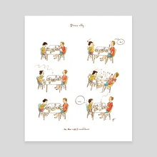 Dinner + Fly - Canvas by Qin Leng