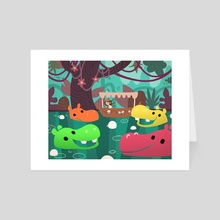 Hungry Hippo Jungle Cruise - Art Card by Emily FitzPatrick