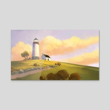 Lighthouse On A Hill - Acrylic by Tuomas Korpi