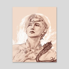 Elven prince Yeosang - Acrylic by Joanna A
