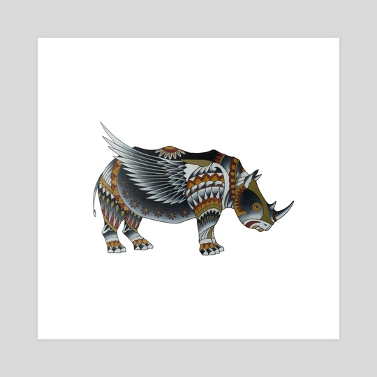 Winged Rhino by Adam Lindsay Honsinger