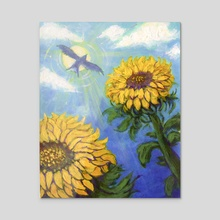 Afternoon Sunflower - Acrylic by Alexi Molinari