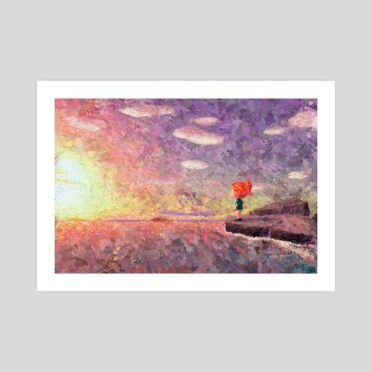 Animal Crossing: New Horizons Sunset Vista Impressionist Painting by Bridget Garofalo