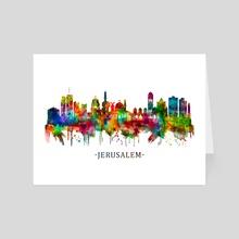 Jerusalem Israel Skyline - Art Card by Towseef Dar
