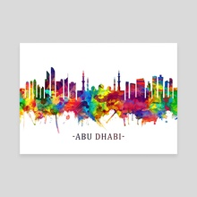 Abu Dhabi UAE Skyline Watercolor - Canvas by Towseef Dar