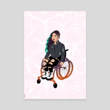 Cool Girl In A Wheelchair (White Ocean) - Canvas by Menah M