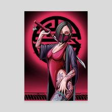 Cyberpunk Neon Samurai - Canvas by Marcel Ustowski