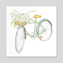 Bike - flowers - sunflower - watercolor - green - Acrylic by G Goularte