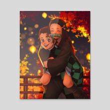 Tanjiro and Nezuko - Acrylic by sleepycrayon