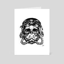 Steampunk skull with mask - Art Card by Milena Popgeorgieva