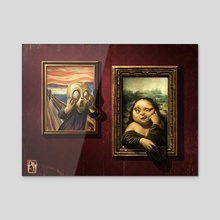 The Scream vs Mona Lisa! - Acrylic by Antonio De Luca