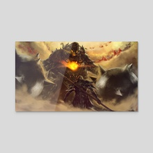lucifer vs the titan god - Acrylic by sativieans
