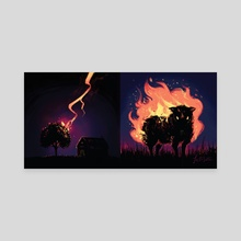 Heavenly Fire - Canvas by Justyna Babinska