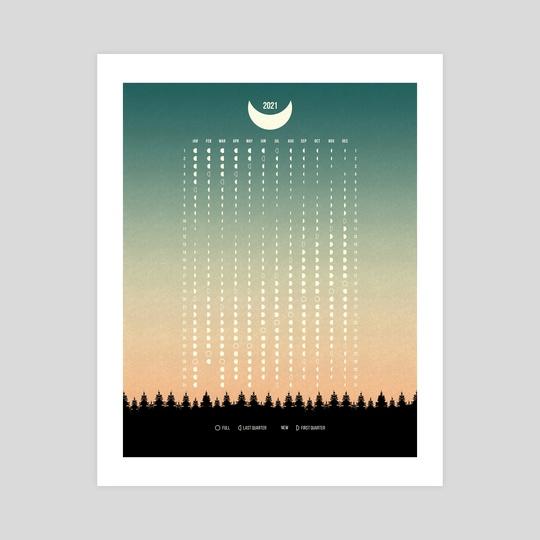 Green Moon Phases Calendar 2021 by Imagonarium