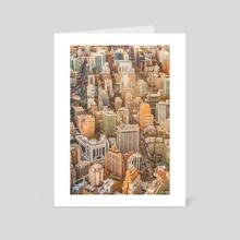 Santiago de Chile Cityscape Aerial View - Art Card by Daniel Ferreira Leites