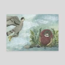 Bird Man, Raccoon Woman - Canvas by Jessica Bartram