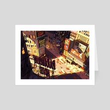 1950's Time Square - Art Card by Rebecca Shieh