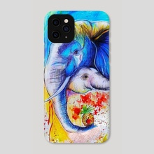 Beautiful and colorful painting of mom elephant with her cub - Phone Case by Sukhendu Mondal