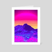 80s Sunset Retro Pixel Art - Art Card by Visuals Artwork