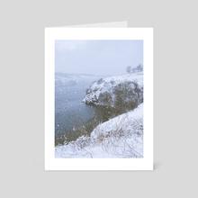 Snowing on the river - Art Card by Vitali Pikalevsky