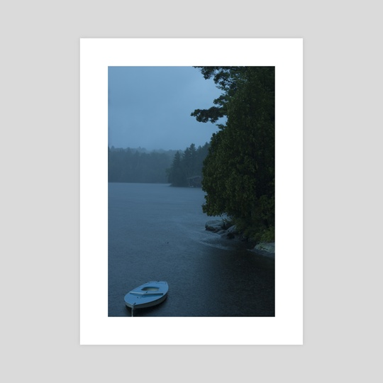 Blue Boat on Ahmic Lake in the Rain  by Louis Rouse