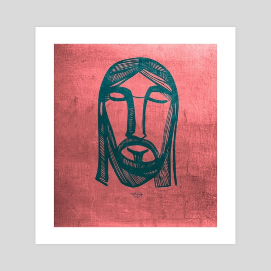 Jesus Christ Face on red background by Bernardo Ramonfaur