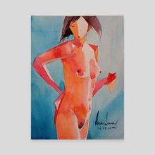 """Nude on blue #2"" - Canvas by Anri Laran"