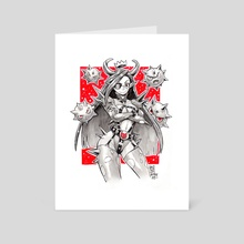 Devil girl and minions - Art Card by Karla Diaz