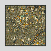 Twin Cities Map 2 - Canvas by Jazzberry Blue