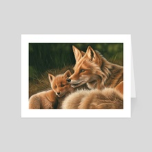 Fox and Cub - Art Card by Richard Macwee