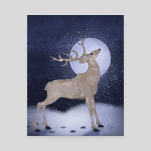 Stag By Moonlight - Canvas by Katherine Hahn