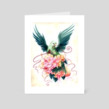 Green Fruit Dove with Flowers - Art Card by Kat Powell