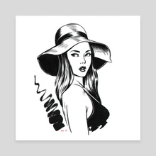 Woman in a Hat - Canvas by Adan Vazquez