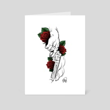 Roses and a gun - Art Card by Matthew Hally