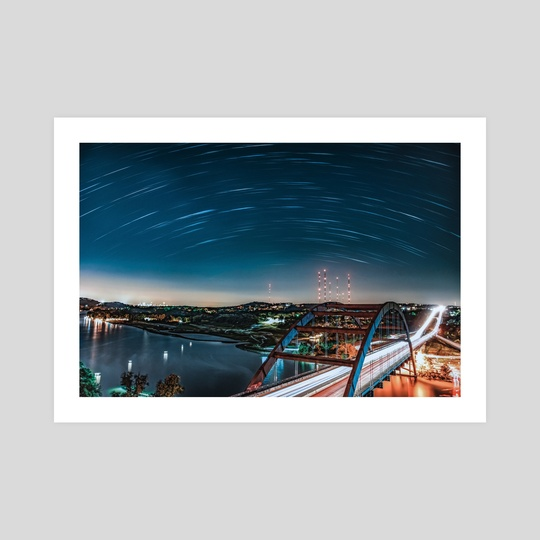 Star Trails Over The 360 Bridge by Maya Tsai