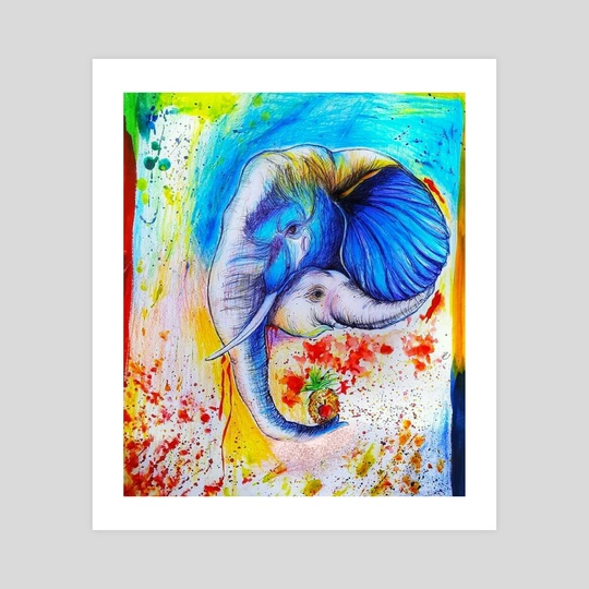 Beautiful and colorful painting of mom elephant with her cub by Sukhendu Mondal
