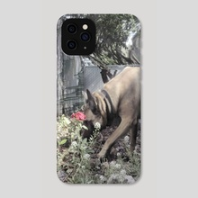 Dog smell a flower - Phone Case by Anthony Greenblatt