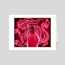 neon dragon - Art Card by em
