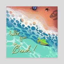 Animal Crossing Beach Postcard Print - Canvas by Reshma Zachariah