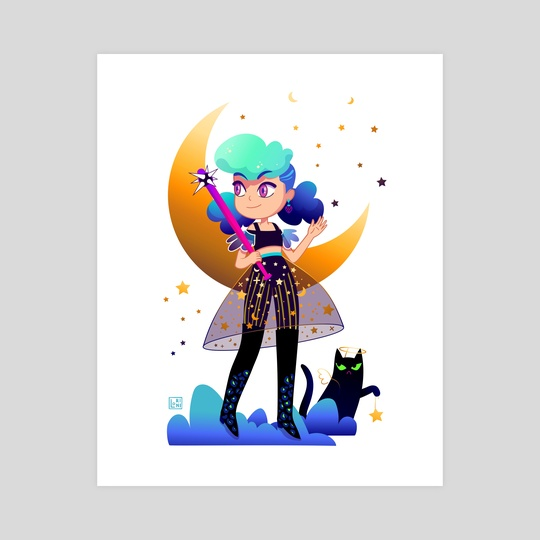Girl with blue hair and black cat by Lorini Art