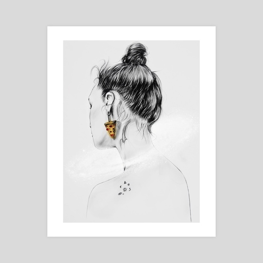 Pizza earing girl drawing by Tantowi Gilang