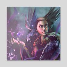 Raven girl  - Acrylic by Nikola Černa