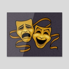 Gold Comedy And Tragedy Theater Masks - Acrylic by John Schwegel