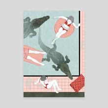 Poolside - Canvas by Julia Bernhard